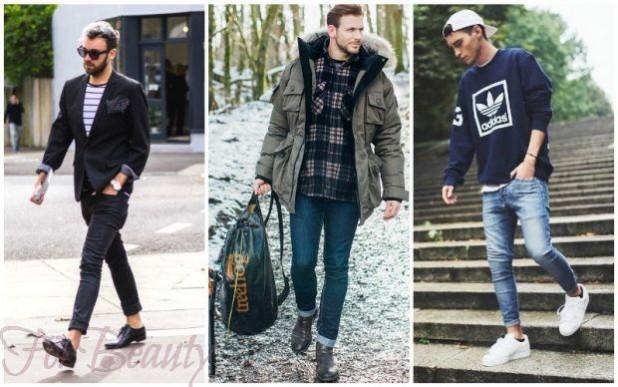 Мужские узкие штаны с подворотом 2018-2019 фото