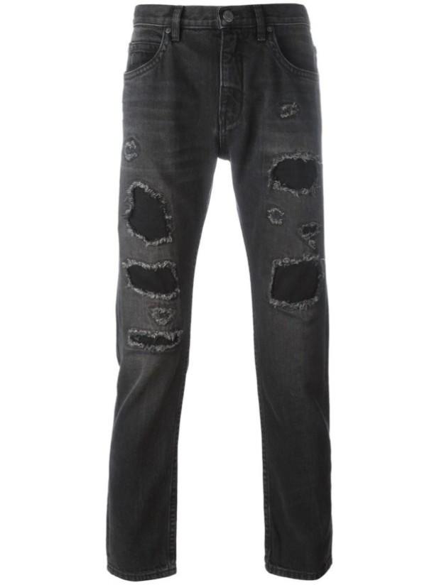 модные мужские джинсы с заплатками