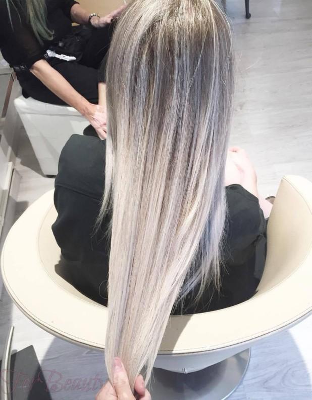 Модный серый оттенок волос 2018