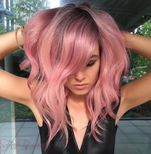 Модный розовый оттенок волос 2018