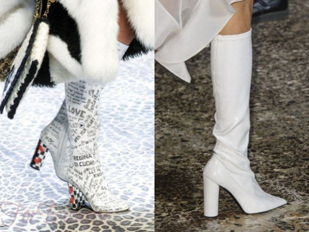 Модные кожаные сапоги на толстом устойчивом каблуке сезона осень-зима 2018-2019 фото