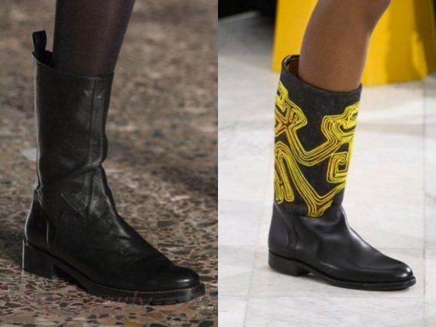 Модные кожаные сапоги на толстом каблуке