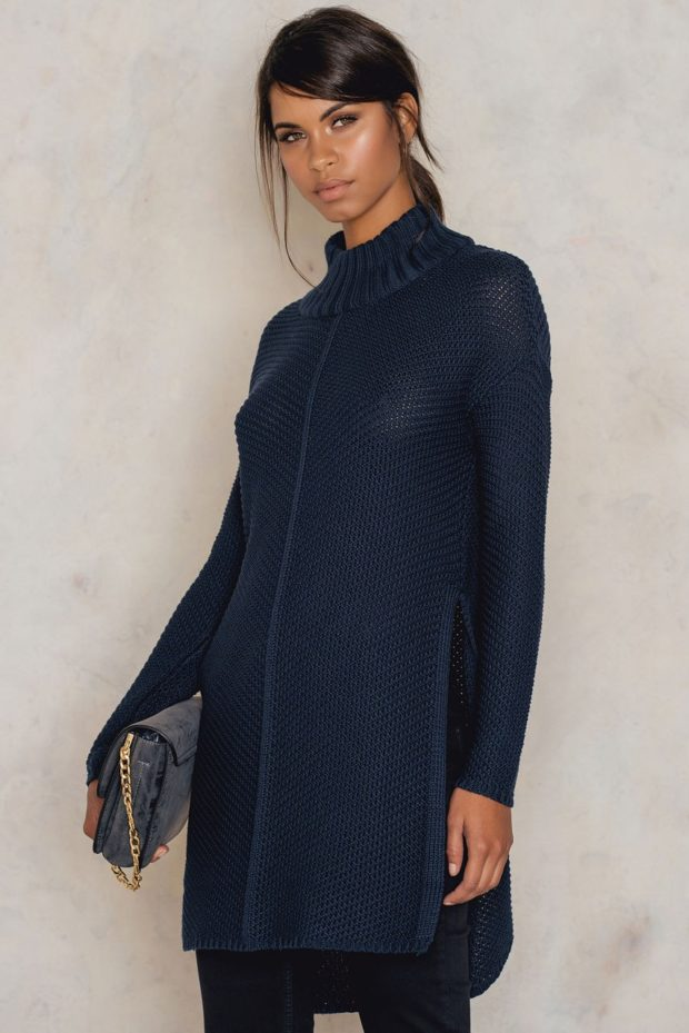 синий свитер-платье осень 2019-2020