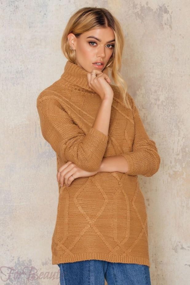Модные свитера с высоким воротом осень - зима 2017-2018 женские фото