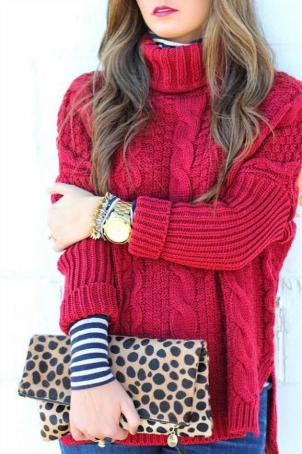 теплый вязанный свитер