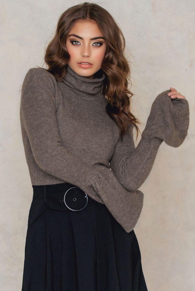 Модные свитера с объемными рукавами осень-зима 2019-2020 женские фото