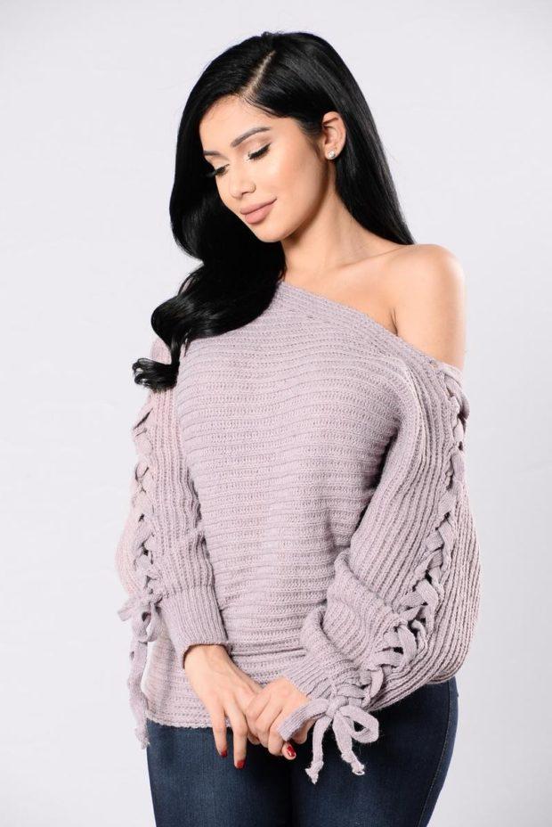 Модные женские свитера с объемными рукавами осень-зима 2019-2020
