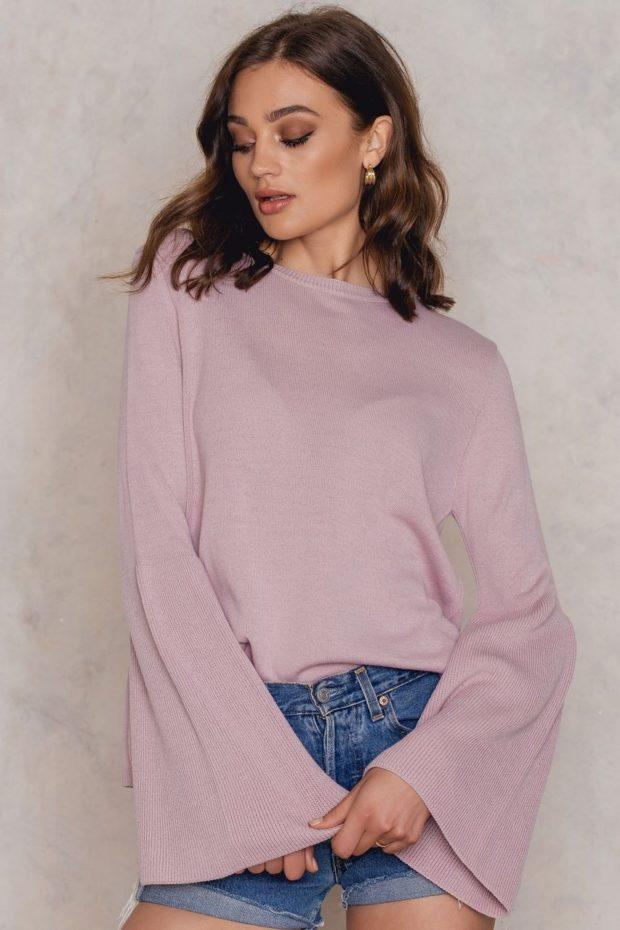 Модные свитера с объемными рукавами