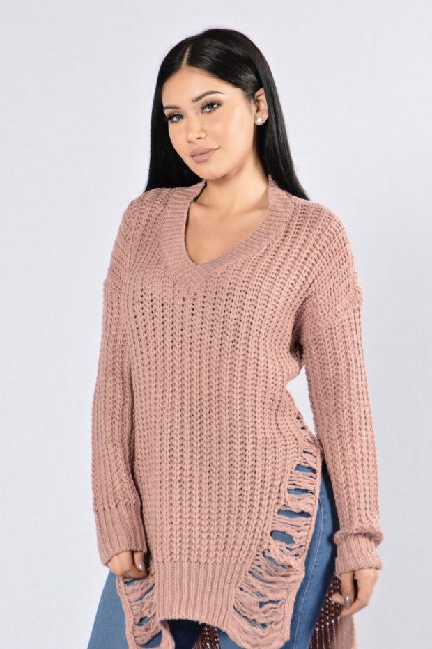 модные женские джемпера 2019-2020 фото: персиковый цвет