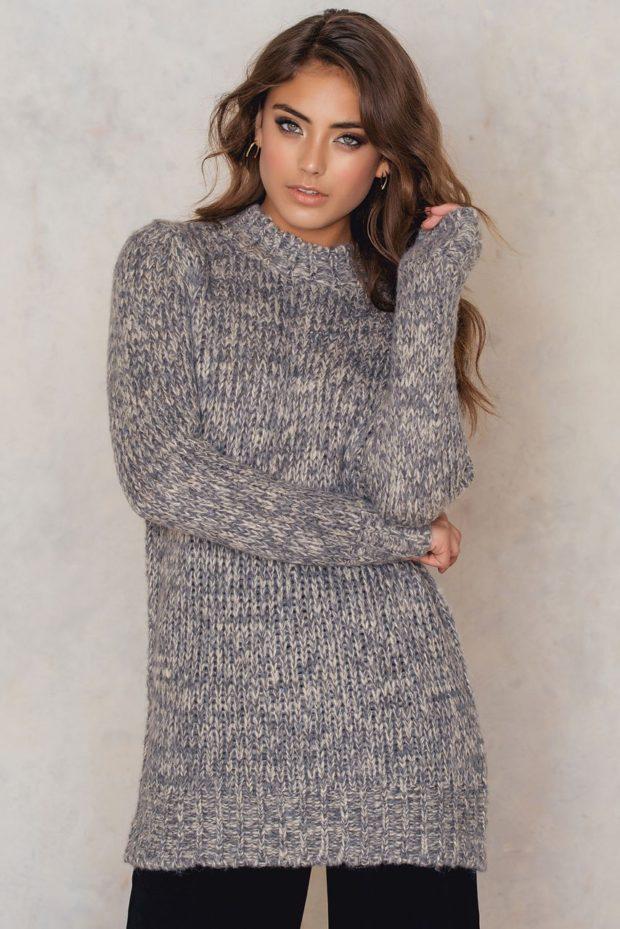 Модные объемные свитера крупной вязки в стиле oversize