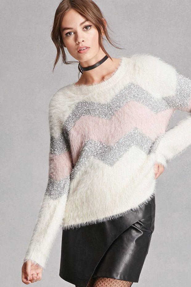 женские свитера 2019-2020: белый зигзаг