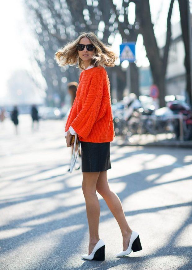 женские свитера 2019-2020: оранжевый цвет