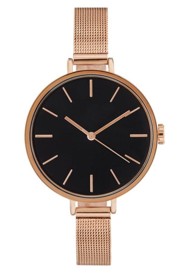 женские золотые часы черный циферблат