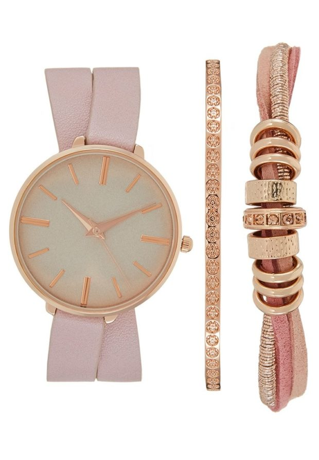 женские модные часы розовый ремешок