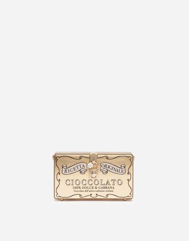 золотая сумка в виде пенала