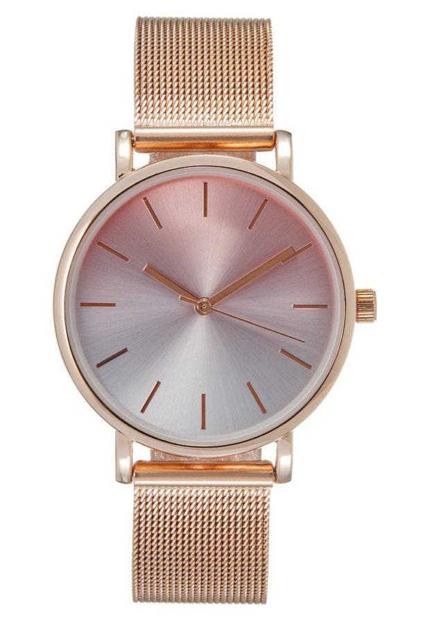 женские модные часы розовый циферблат