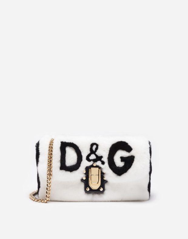 белая сумка D&G на золотой цепочке
