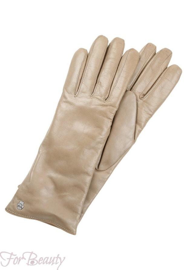 Модные бежевые перчатки 2018 женские