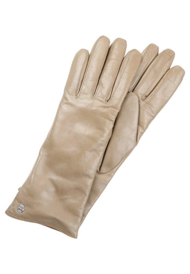 бежевые кожаные перчатки