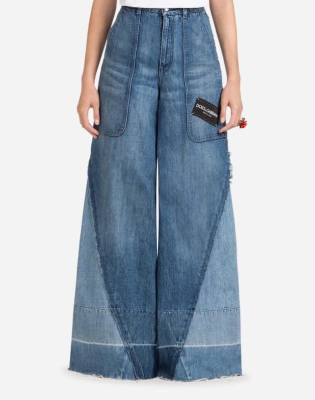 женские джинсы 2019-2020 года: широкие синие