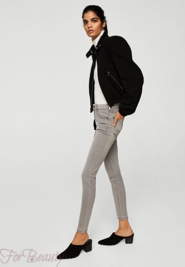 Модные серые женские джинсы 2018 года