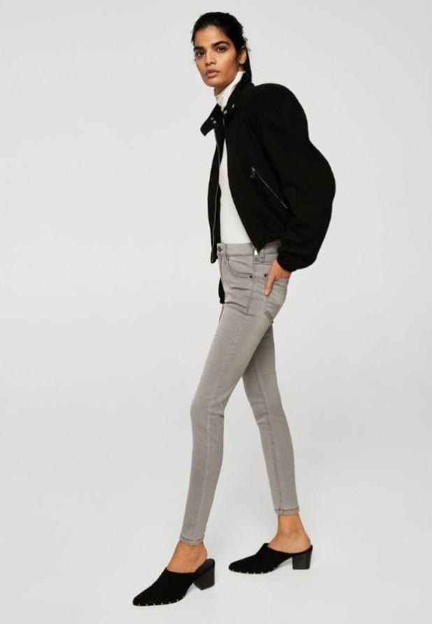 женские джинсы серые узкие
