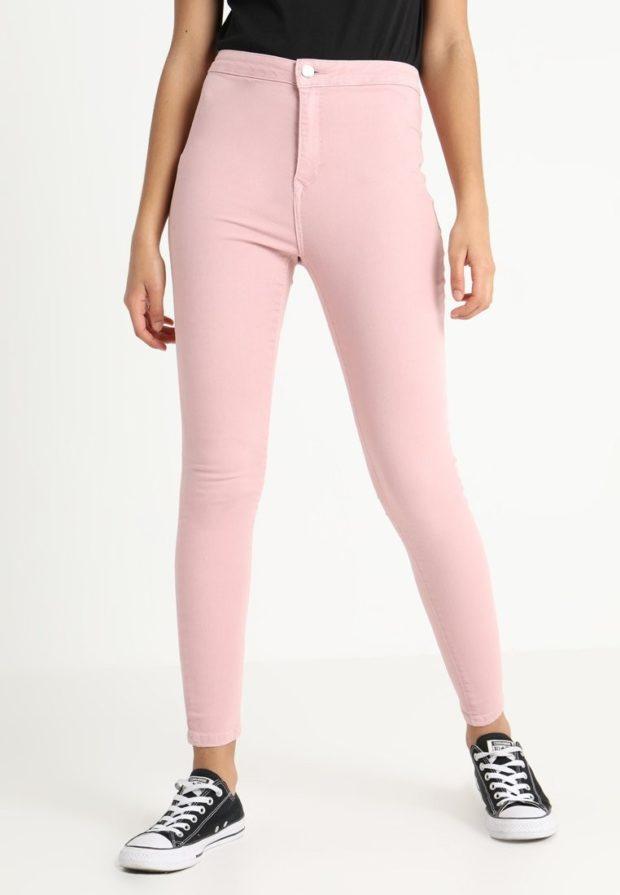 женские джинсы розовые узкие