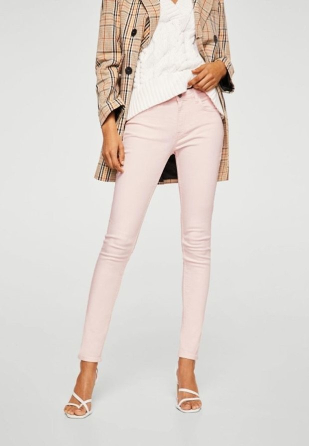 женские джинсы светло-розовые узкие