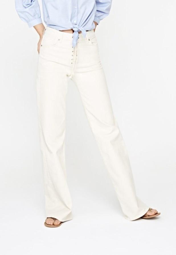женские джинсы белые прямые шнуровка