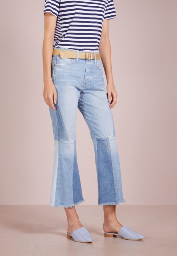 женские джинсы: клёш голубые