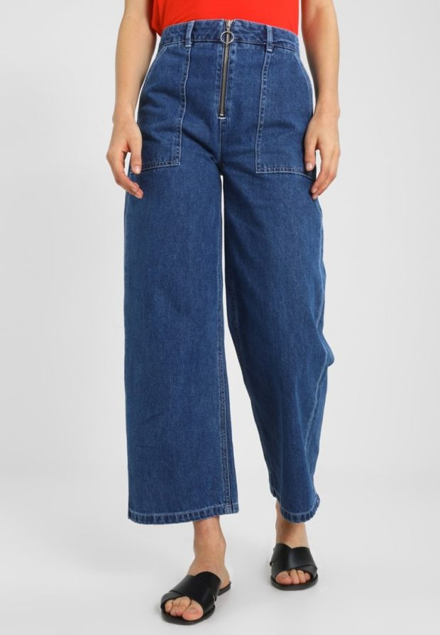 женские джинсы: клёш синие