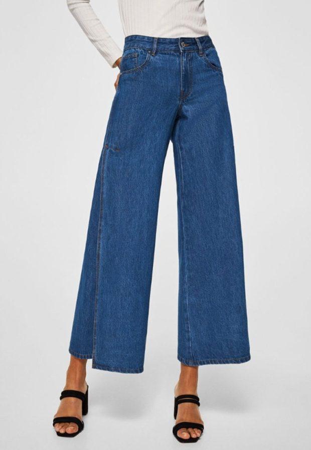 модные женские джинсы: клёш укороченные