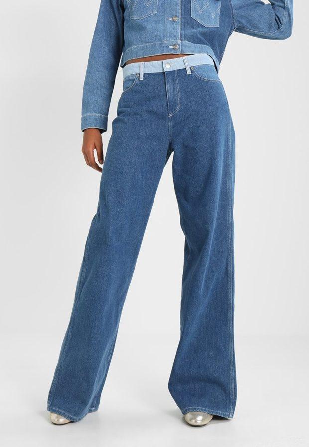 модные женские джинсы: клёш длинные