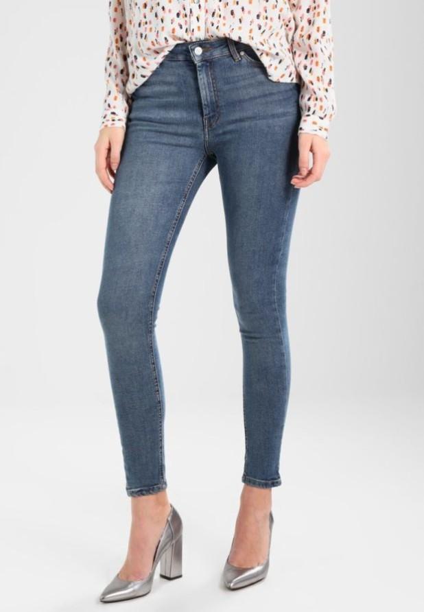 модные женские джинсы скинни синие