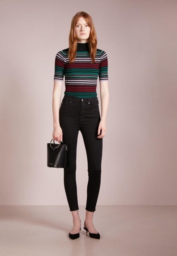модные женские джинсы скинни черные