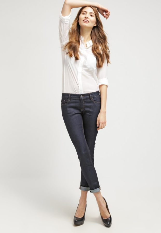 модные женские джинсы скинни с подворотом