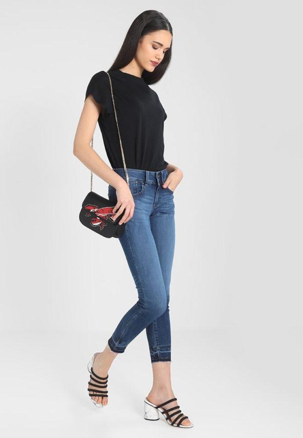 модные женские джинсы скинни укороченные