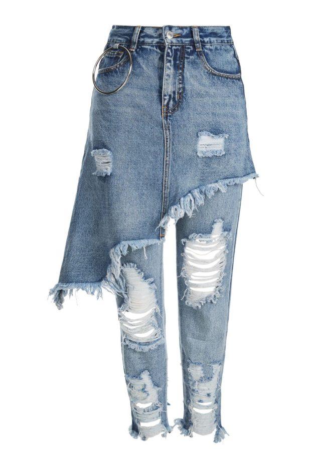 модные джинсы юбка поверх брюк