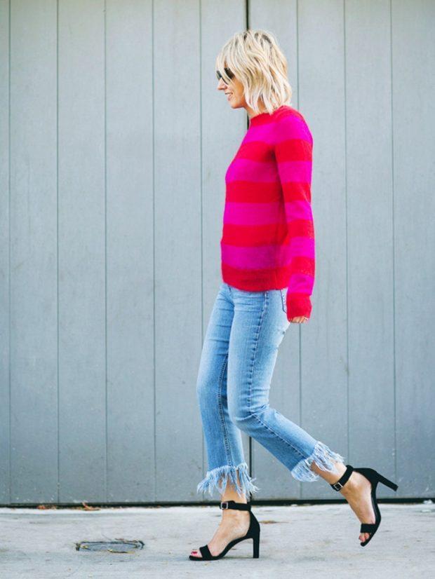 джинсы с бахромой укороченные