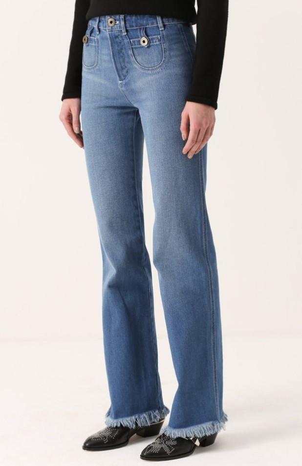 джинсы с бахромой длинные
