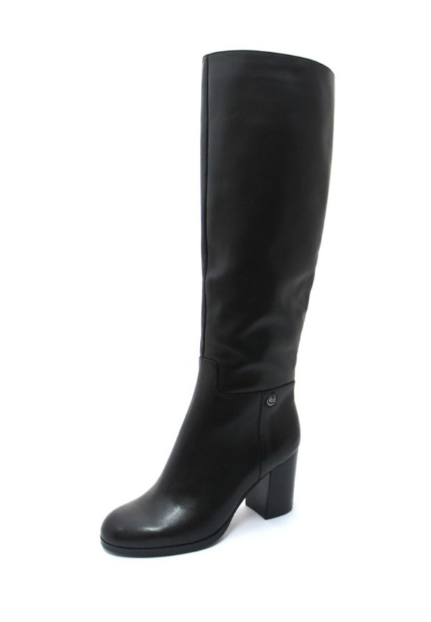 черные высокие ботфорты толстый каблук