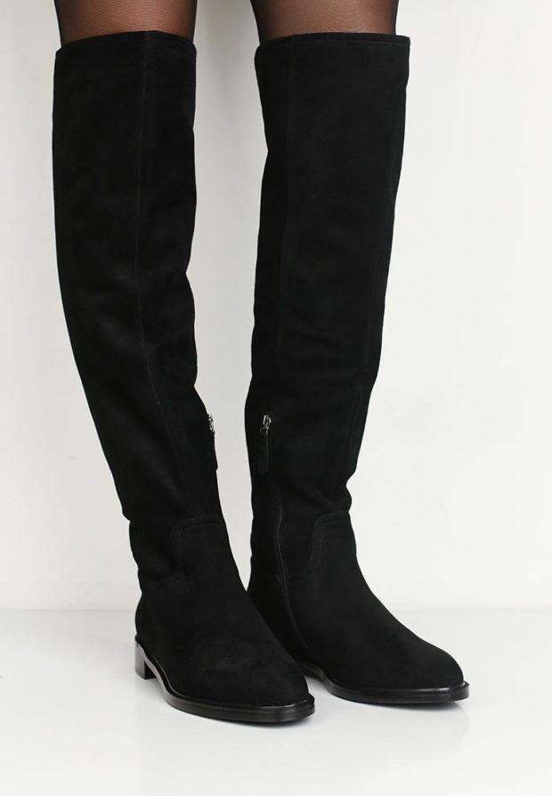 черные ботфорты на молнии низкий каблук