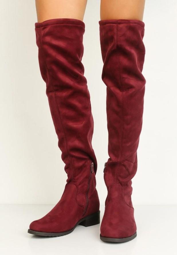 бордовые ботфорты низкий каблук