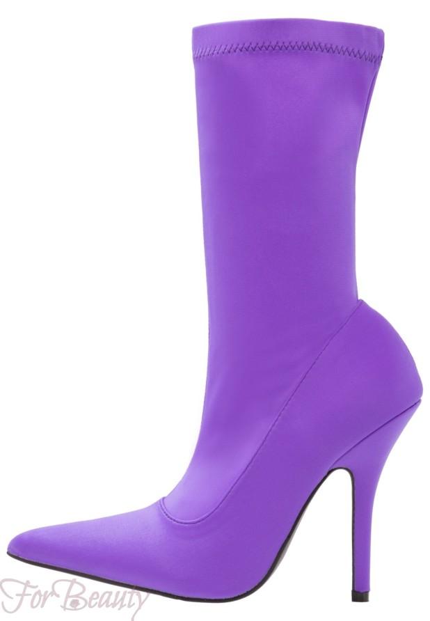 Модные фиолетовые сапоги на каблуке осень-зима 2018 2019