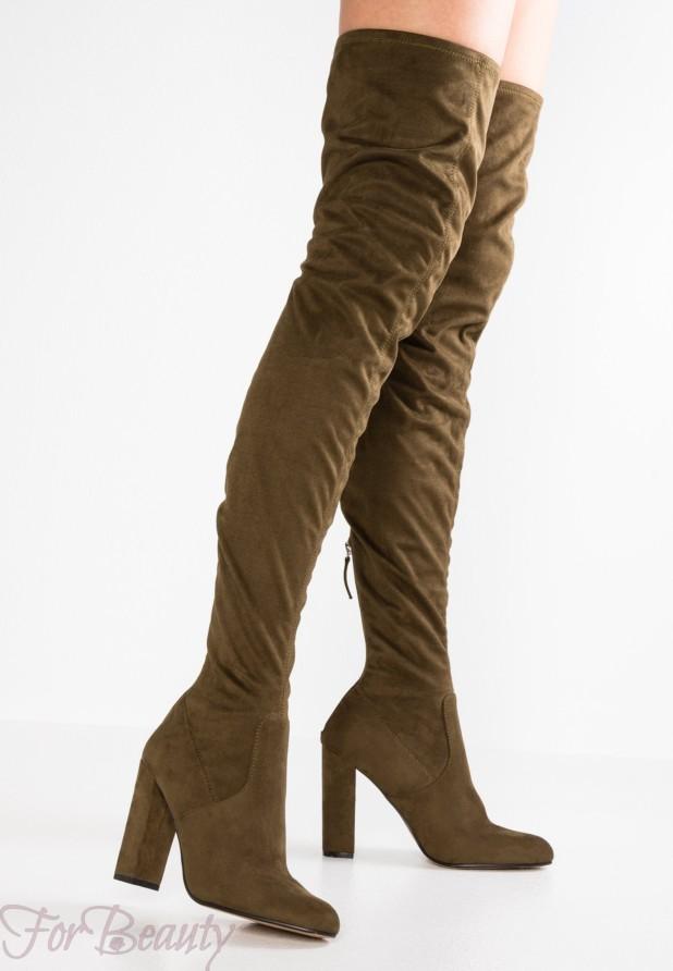 Модные коричневые сапоги на каблуке осень-зима 2018 2019