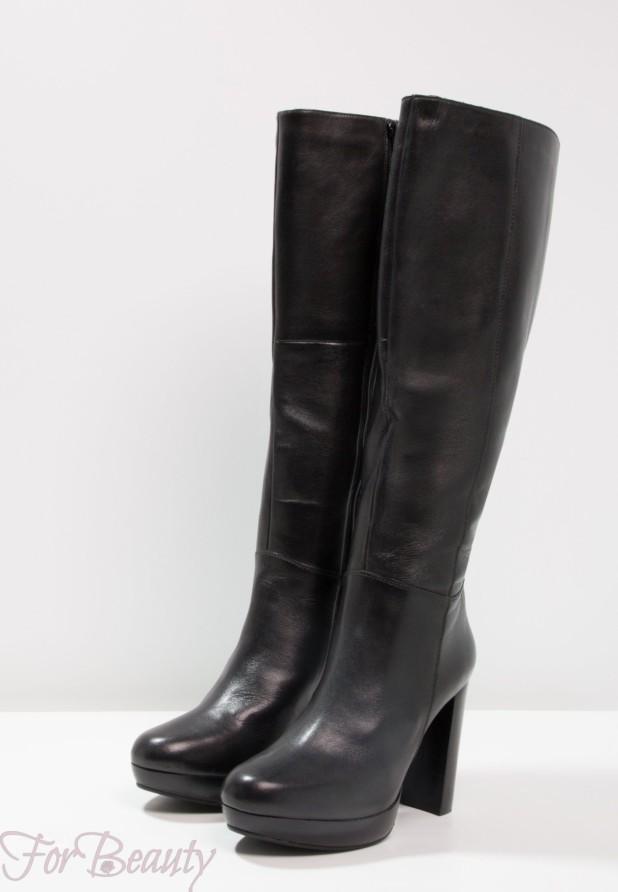 Модные кожаные сапоги на толстом устойчивом каблуке сезона осень-зима 2018 2019