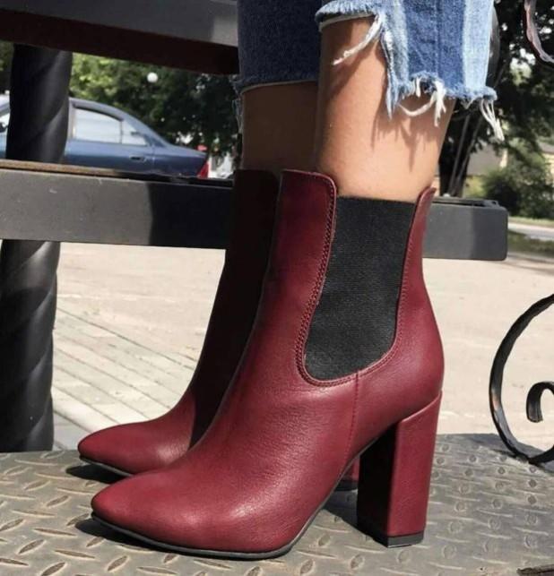 кожаные сапоги на толстом устойчивом каблуке