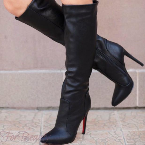 Модные черные сапоги на шпильке осень-зима 2018 2019