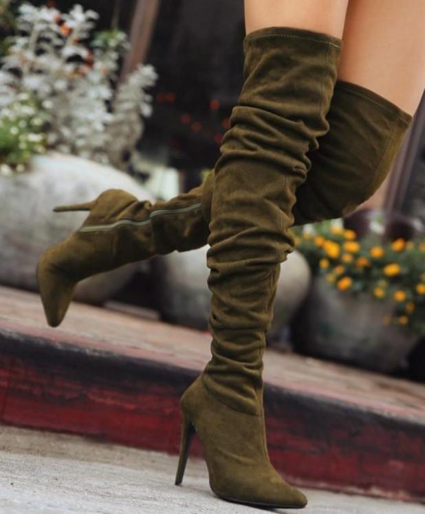 Модные зеленые сапоги на шпильке осень-зима 2018-2019