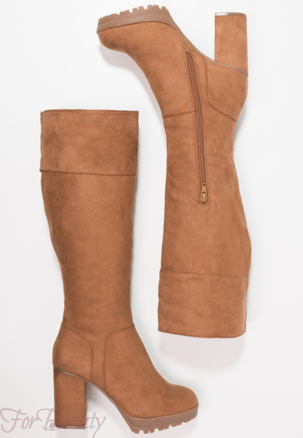 Модные коричневые женские сапоги осень зима 2018 2019